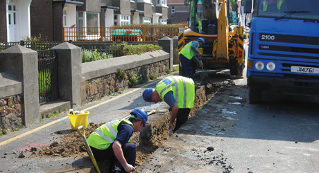 Get Connected work being undertaken on a water main